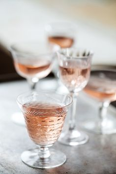 tis the season for rosé. and i love the mix of glassware to serve it in. my kind of style