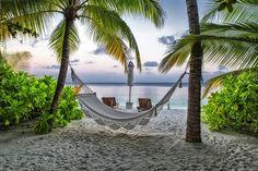 Скачать обои мальдивы, пляж, гамак, пальмы, курорт, раздел пейзажи в разрешении 2048x1367
