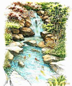 waterfall sketch #LandscapeSketch
