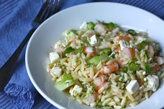 lemon-dill orzo salad with shrimp and feta