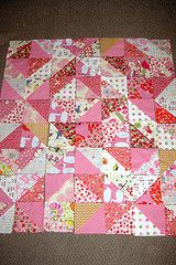 warm and cool square sew diagonally and the cut to make 2 HST. twist and turn until it's laid out just right.
