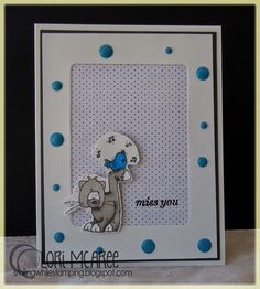Smiling while Stamping: miss you handmade miss you card using Whipper Snapper Cat and Bird stamp