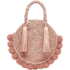 straw circle tote by Loeffler Randall. Fabric: Straw Pom-pom trim Magnetic closure at top Weight: / Imported, China Measurements Height: / Length: / Depth: / Handle drop: / Round Straw Bag, Round Bag, Crochet Handbags, Crochet Bags, Crochet Purses, Crochet Flowers, Crochet Shell Stitch, Straw Tote, Purse Patterns