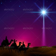 Three wise men follow the star of Bethlehem. EPS 10, contains trasparency, light created with mesh.