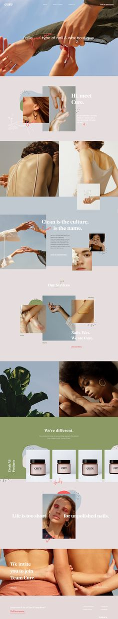 Cure landing page design inspiration - Lapa Ninja Web Design Trends, Design Ios, Branding Design, Flat Design, Fashion Web Design, Website Layout, Web Layout, Layout Design, Nice Website