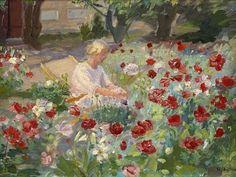 Anna Ancher - Ung pige mellem valmuer  1890