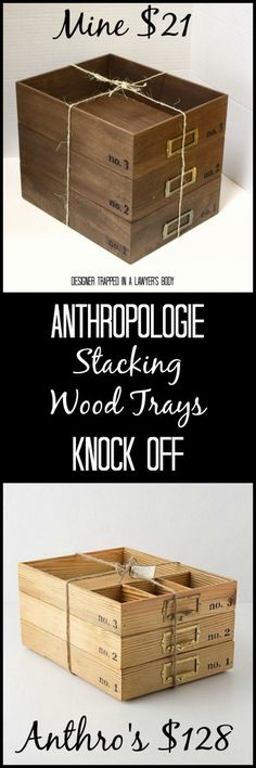 MUST PIN! Anthropologie Knock Off Stacking Wood Trays for a FRACTION of the price by Designer Trapped in a Lawyer's Body. #anthropologieknockoff