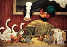 ALL MY FRIENDS Lowell Herrero farm barn animals cow chickens print poster Canvas Wall Art, Canvas Prints, Art Prints, Cow Canvas, Framed Canvas, Friends Poster, Barn Animals, Arte Country, Barn Art