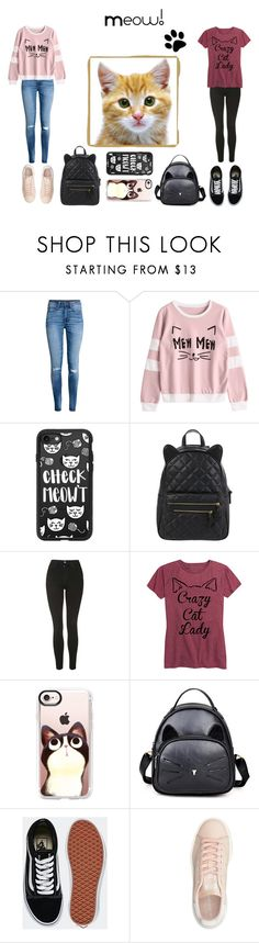"""""""Crazy Cat Lady"""" by clairerose44 ❤ liked on Polyvore featuring H&M, Casetify, Accessorize, Topshop, Cotton Jungle, Vans, adidas Originals, cats and statementbags"""