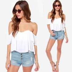 ruffled low back peasant short sleeve blouse crop top