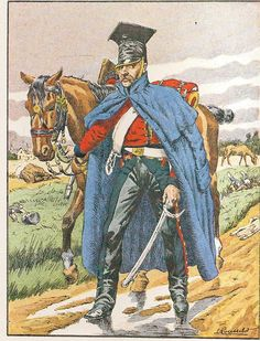 French; Imperial Guard, 2nd Regt Chevau-Legers Lanciers, Lancer of the Old Guard, Tenue en Manteau, 1812-14