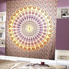 Pink Yellow Peacock Mandala Queen Tapestry