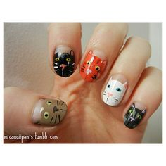 The Best Cat Nail Art On The Internet ❤ liked on Polyvore featuring nails, nail polish and beauty