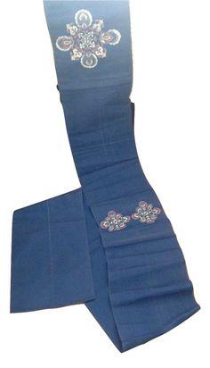 Vintage Indigo Woven Fukuro Type Obi Kimono Belt Embroidered Fabric Table Runner by VelmaVtg on Etsy https://www.etsy.com/listing/244254165/vintage-indigo-woven-fukuro-type-obi