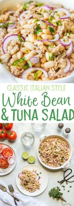 You'll love my Tuna White Bean Salad with Red Wine vinegar dressing and no mayo! It's packed full of protein and contains tuna white beans and fresh parsley. A really healthy gluten free low calorie lunch or dinner option this salad is ready to eat Low Calorie Lunches, No Calorie Foods, Low Calorie Salad, Healthy Low Calorie Dinner, No Carb Lunch, Diet Foods, Clean Eating, Healthy Eating, Soup And Salad