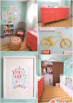 Coral and Aqua nursery: Wall color is Sea Glass by Martha Stewart