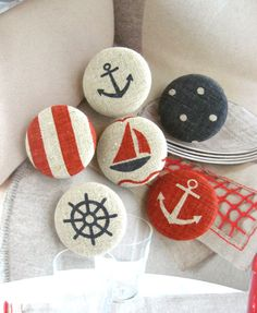 """Fabric Buttons, Fridge Magnets, Nautical Magnets, Nautical Buttons, Stripes Button, Large Buttons, Flat Backs, Beige Buttons, 1.25 """" 6's"""
