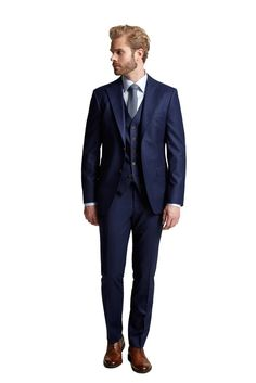 Slim fit suit in a vibrant petrol blue, with wide jacket lapels. Available as a three piece suit including our Lyon vest. Suit Jacket, Vest, Three Piece Suit, Bradford, Suits, Lyon, Fitness, Jackets, Blue
