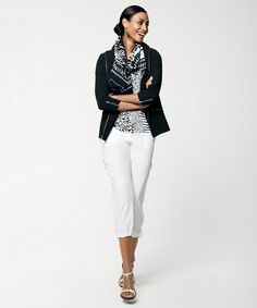 Style Cue: Elevate the Cargo Pant with a Polished Palette and a FAB Patterned Scarf. #chicos