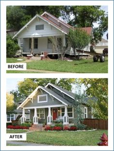 6 Jaw-Dropping Curb-Appeal Makeovers A home gets a brand new look! Fiber-cement planks, painted warm gray, replaced the worn wood siding. A bit of the same gray tinted the white paint used for the trim and existing roof brackets. Café Exterior, Exterior Remodel, Exterior Design, Renovation Facade, Home Renovation, Home Remodeling, Shabby Chic Design, Shabby Chic Sofa, Home Improvement Projects