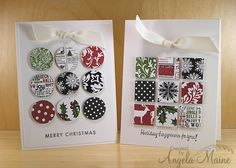 handmade Christmas cards ... nine patch style ... punched circles and squares popped up ... clean design lines ... could use up a lot of Christmas paper scraps this way ...