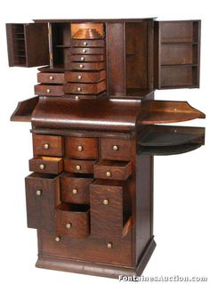 Antique Oak Dental Cabinet