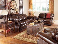 Vintage Living Room With Leather Sofa Set Interior Design Ideas