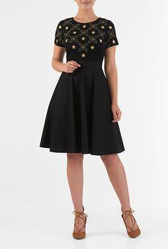 I <3 this Star embellished mixed media dress from eShakti