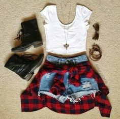 Cutee! Love The Light Flanel Tied Around The Waist.
