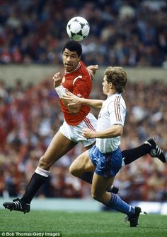 August 1985, Manchester United 3 v West Ham United 0, Paul McGrath heads clear.