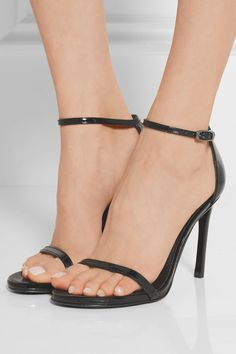 Heel measures approximately 90mm/ 3.5 inches Black patent-leather Buckle-fastening ankle strap Made in Spain