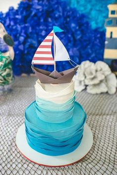 Nautical Birthday Ideas - how amazing is this blue ombre sailboat cake? Such a fun idea for a Sailor Party! Sailor Birthday, Baby Boy Birthday Cake, Sailor Party, Boy First Birthday, Boy Birthday Parties, 1st Birthday Ideas For Boys, Birthday Nails, Birthday Celebration, Baby Shower Decorations For Boys