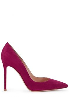 Hand-finished Gianvito Rossi fuchsia suede pumps Heel measures approximately 4 inches/ Pointed toe Slip on Suede Pumps, Women's Pumps, Rossi Shoes, Stiletto Heels, Christian Louboutin, Slip On, Boots, Stuff To Buy, Toe