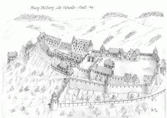 Burg Vellberg Fantasy Town, Fantasy Map, Fantasy World, Castle Illustration, Castle Drawing, Building Concept, Pet Water Fountain, Fortification, Medieval Castle
