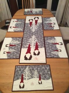 Patchwork Christmas Table Runner Place Mats 23 Ideas – Famous Last Words Quilting Beads Patterns Quilted Table Runners Christmas, Christmas Patchwork, Christmas Placemats, Christmas Runner, Table Runner And Placemats, Christmas Gnome, Christmas Projects, Quilt Table Runners, Quilted Table Runner Patterns