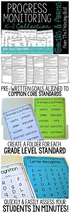 Progress monitoring can be such a pain. This collection of Progress Monitoring Forms will make it simple and effective.  Each progress monitoring form has a pre-written RTI or IEP goal that is ready for customizing for your students!