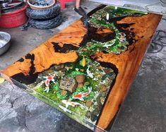 Epoxy Table Top, Epoxy Wood Table, Epoxy Resin Table, Diy Resin River Table, Resin And Wood Diy, Diy Epoxy, Table Aquarium, Resin Furniture, Table Furniture