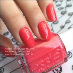 """Essie """"Berried Treasure"""" polish/gel from its Summer 2016 collection. This is a pretty raspberry color, leans to an almost coral -shade indoors. Very pretty!"""