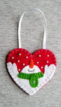 Christmas Snowman Felt Ornament - Christmas Tree Decor - Felt Heart - Snowman Decor - Handmade Embroidery - Christmas Gift Idea - Red White ✱✱✱ ONE SHIPPING PRICE no matter how many items you buy! ✱✱✱ Felt is a very soft, pleasing and environmentally friendly material. Felt ornament look