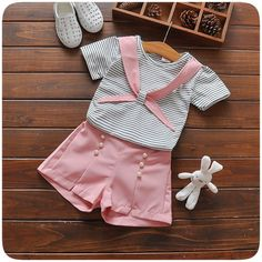 Infants Clothes Set Girls Baby Summer Clothes Set Cotton Striped Shirt With Pearl Pants 2 pcs Clothing Suit Outfits Baby's Kids Outfits Girls, Little Girl Dresses, Girl Outfits, Little Girl Fashion, Kids Fashion, Baby Girl Frocks, Kids Dress Wear, Girls Frock Design, Baby Frocks Designs