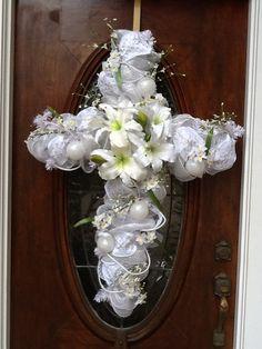 white cross wreath