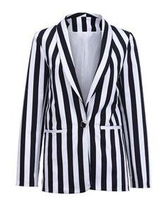 ROMWE Black And White Stripes Blazer