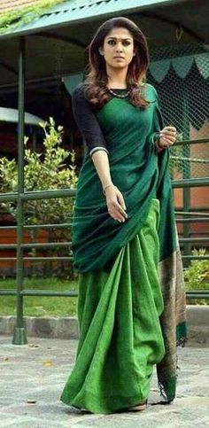 Linen sarees with contrast border, 100 count, with running blouse pc