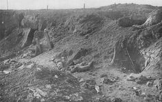 WW1: German trenches of Combles, captured by the French, 1916. The trenches have been pulverized with artillery fire.