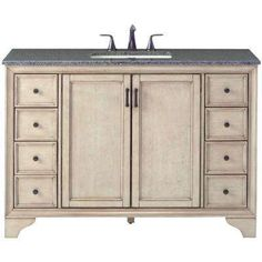 Hazelton 49 in. Vanity in Antique Grey with Granite Vanity Top in Dark Grey with White Basin