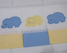 Kit Fralda de Boca Azul/Amarelo Elefante