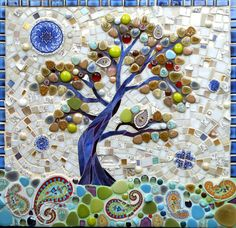 Mosaic Tree Greetings Card - Mosaic Art - Birthday Card - Stained Glass Tree - Tree of Life - Art Card - Folk Art - Rural Abstract Art Mosaic Garden Art, Mosaic Art, Mosaic Glass, Mosaic Planters, Mosaic Crafts, Mosaic Projects, Art Projects, Tree Of Life Art, Japanese Tree
