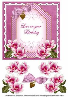 Cerise Magnolia Love on Birthday Fancy 7in Decoupage Topper on Craftsuprint - Add To Basket!