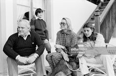 Left to Right. Prince Rainier, Princess Stephanie, Princess Grace and Princess Caroline of Monaco during a family vacation at their chalet in Gstaad, Switzerland. February 1979.