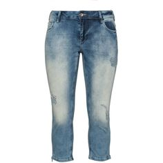 Zizzi Blue Plus Size Distressed cropped jeans ($85) ❤ liked on Polyvore featuring jeans, blue, plus size, plus size ripped jeans, relaxed jeans, plus size jeans, cropped jeans and torn jeans